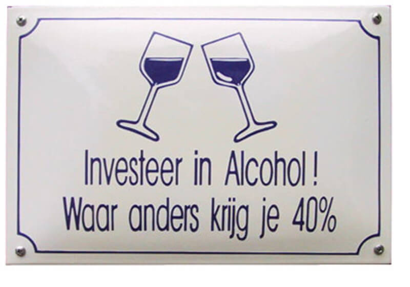 Emaille Funbord / Investeer in alcohol