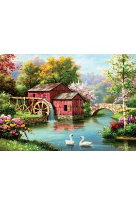 Art puzzle The old red mill