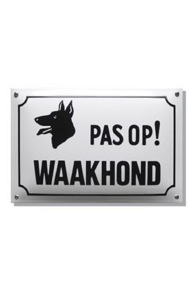 Emaille bord pas op waakhond