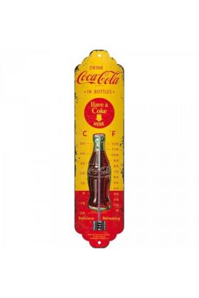 Thermometer metaal Coca Cola Yellow Bottles