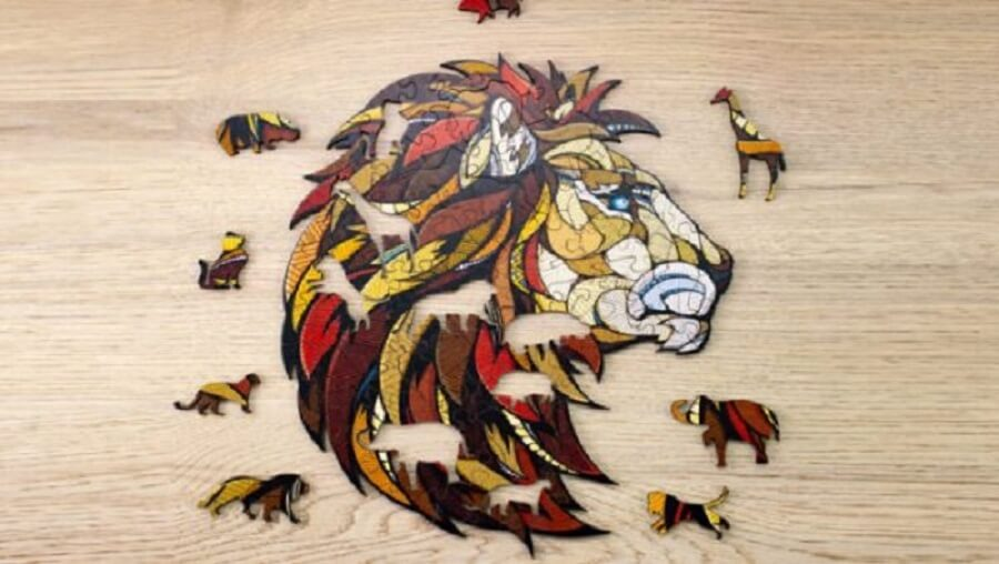 Eco-Wood-Art Houten Puzzel, Lion