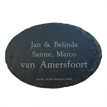 Leisteen naambord ovaal groot - Outhings